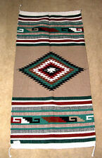 "Hand Woven Wool Throw Rug Southwestern Western 32""x 64"" Tapestry #117L"