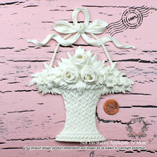 "Shabby N Chic ""Rose Basket with French Bow (Large)"" Furniture Appliques"