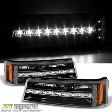 Black 2003-2006 Chevy Silverado 1500 LED DRL Bumper Signal Lamps Parking Lights