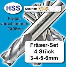 Fräser-Satz, D=3-4-5-6mm, Schaftfräser für Metall Kunststoff Holz, HSS Z=2