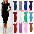 Women Ladies Plain Jersey Stretch Crew Neck Bodycon Cap Sleeve Midi Dress 6-26