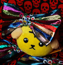 Crazy Harajuku Kawaii Creepy Ojos Brillantes Sparkle Stripe Moño De Pelo Decora Kei Pop
