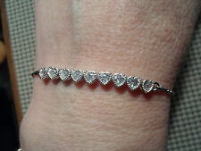 QVC Diamonique cz Sterling Silver/Platinum clad  Heart Line Friendship Bracelet