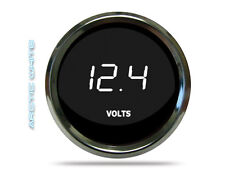 "LED Digital Voltmeter Gauge White w Chrome Bezel 2 1/16"" Intellitronix MS9015-W"