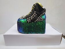 YRU Qozmo Dragon Gothic Black & Green Sparkley Shoes Unisex Sz 6/37 M (21908)