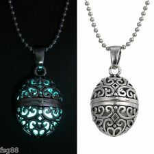 New Glow in the Dark Stainless Steel Chain Egg Shape Locket Necklace Pendant