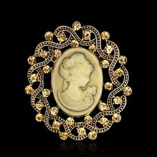Vintage Gold Design Wedding Bridal Party Jewellery Victorian Cameo Brooch Pin