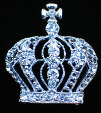 SILVER TONE CLEAR RHINESTONE PRINCESS CROWN BEAUTY PAGEANT TIARA PIN BROOCH 1.5""