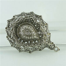 15431 2PCS Alloy Tibetan Silver Hollow Tear Drop Lotus Yoga Buddha Faith Pendant
