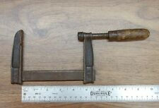 """Old Used Tools,Antique 41B Wooden Handled Bar Clamp,4-1/4"""" Capacity"""