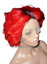 "Remy Human Hair Wig Full Lace 8"" Short Bob Wavy Curly Bright Red Black Roots 1b"