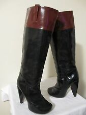 Marc Jacobs Women's 2-Tone Patent Leather Hidden Platform Knee-High Boots Sz 38