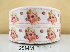 2 METRE WHITE + PINK ELSA FACE FROZEN RIBBON SIZE INCH BOWS HEADBANDS HAIR CLIPS
