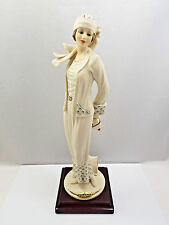 Giuseppe Armani Figurine #433F Colette, Woman in All White Outfit w/ Purse & Bag