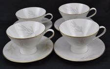 """Rosenthal Mid Century Raymond Loewy """"Grasses"""" Gold Trim Set 4 Cups Saucers"""