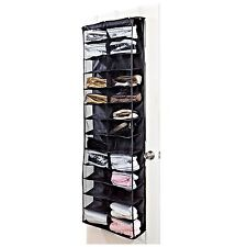 Black 26 POCKET OVER THE DOOR SHOE RACK ORGANISER HOLDER STORAGE SHELF NEW