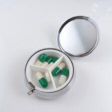Metal Round Silver Pill Box Advantageous Container Medicine Case Small Case TSUS