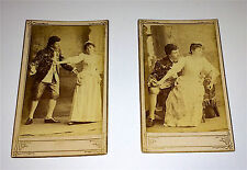 Antique Victorian Fashion ID Actor & Actress Courting! 2 Romantic Old CDV Photos