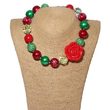 New Gumball Bead Bubblegum Necklace Red Rose Pendant for Little Kid X-mas Gift