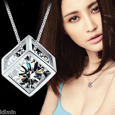 Fashion Women 925 Silver Chain Crystal Rhinestone Pendant Necklace Jewelry Gift