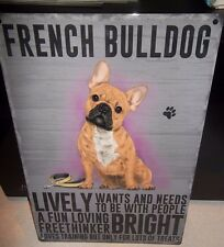 """FRENCH BULLDOG 12""""X 8"""" METAL SIGN  WITH CHARACTER DESCRIPTIONS 30X20CM/ dogs"""
