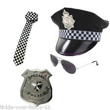 Da Uomo Poliziotto Cappello Cravatta BADGE AVIATOR Occhiali polizia set uomo COP FANCY DRESS Stag