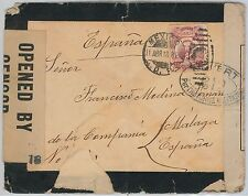 MEXICO -  POSTAL HISTORY: MOURNING COVER to SPAIN with FRENCH &  USA CENSOR 1930