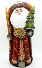 Russian Hand Carved painted Father Frost Christmas RED COAT Santa & Tree Figure