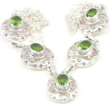 Peridot Necklace Jewelry Genuine 925 Sterling Silver Artisan Handcrafted New