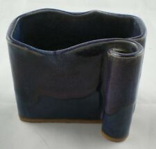BAY Pottery Green Blue Brown Drip Paint Ribbon 2 Section Ceramic Holder Vase