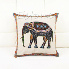 New Throw Pillow Case Cushion Cover Decor Indian Elephant Knitted Cotton Linen