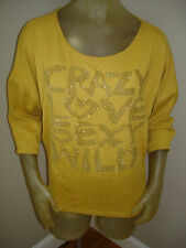 NWT Yom Yom CRAZY LOVE SEXY WILD Gold Metallic 3/4 Sl Shirt Top Juniors Large L