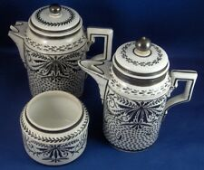Antique 18thC Marseille French Porcelain 3 Pc. Set Pot Creamer Sugar Porcelaine