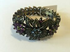Heidi Daus Crystal floral statement Crystal Bangle Bracelet NWOT Free shipping