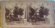 Vtg Stereoview RATS! RATS!! RATS!!! Women on Chairs American Stereoscopic Young