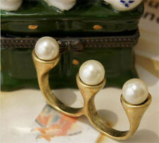 Hot Retro Bronze Plated Imitation Pearl Double Finger Rings Fashion Punk Jewelry