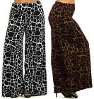 New Plus Size Printed Wide Leg Fold Over High Waist Palazzo Flare Lounge Pants