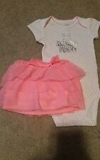New Girls Carter's SNUGGLE BUNNY Easter 2 Piece Outfit Tutu Skirt Bodysuit 6 M