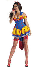 Ladies Adult Snow White Princess Fancy Dress Halloween Costume Fairy Tale Outfit
