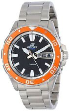 NIB Casio Edifice EFM100D-1A4V Edifice Orange Bezel Analog Watch