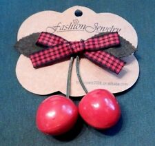 ROCKABILLY CHERRY HAIR CLIP barrette red black gingham ribbon bow punk pin-up