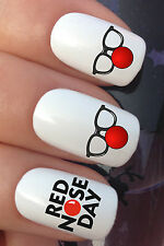 NAIL ART SET #630 x24 COMIC RELIEF RED NOSE DAY CHARITY TRANSFER DECALS STICKERS