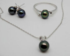 3 Piece Pearl Jewelry set Ring Earrings Necklace Black Freshwater Pearl 14k NEW