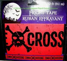 Gothic-Skull & Crossbones--ZOMBIE CROSSING--Fright Caution Tape-Party Decoration