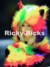 Rave Animal Hood Husky YELLOW Rainbow Hoodie Hat Ear Scarf Spirithood Monster