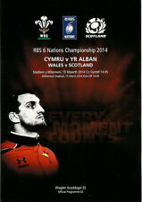 WALES v SCOTLAND 2014 RUGBY PROGRAMME, 15 Mar, Cardiff, Six Nations