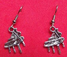 PIANO  EARRINGS  TIBET SILVER, EAR WIRE STAINLESS STEEL