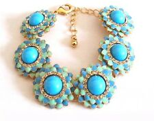 "NEW Blue Mint Crystal Statement Bracelet Bubble Chain Women's Adjustable 8"" US"