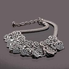 Extravagant XL Halskette Kette Groß Collier Paris Versilbert Blumen Rosa Silbert