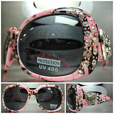 WESTERN Bling COWGIRL SUN GLASSES Pink Camouflage Camo Frame Heart & Guns Concho